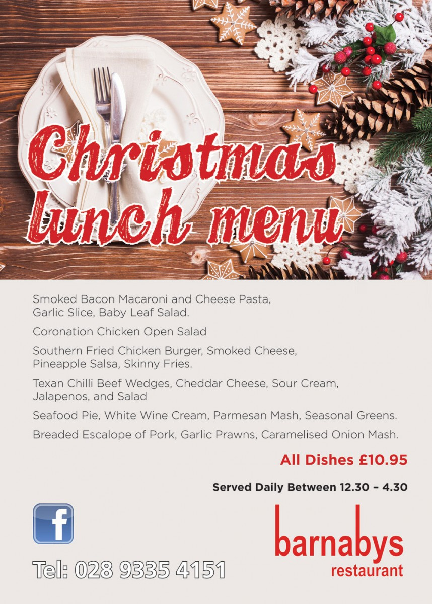 Barnabys Christmas Lunch Menu 2017