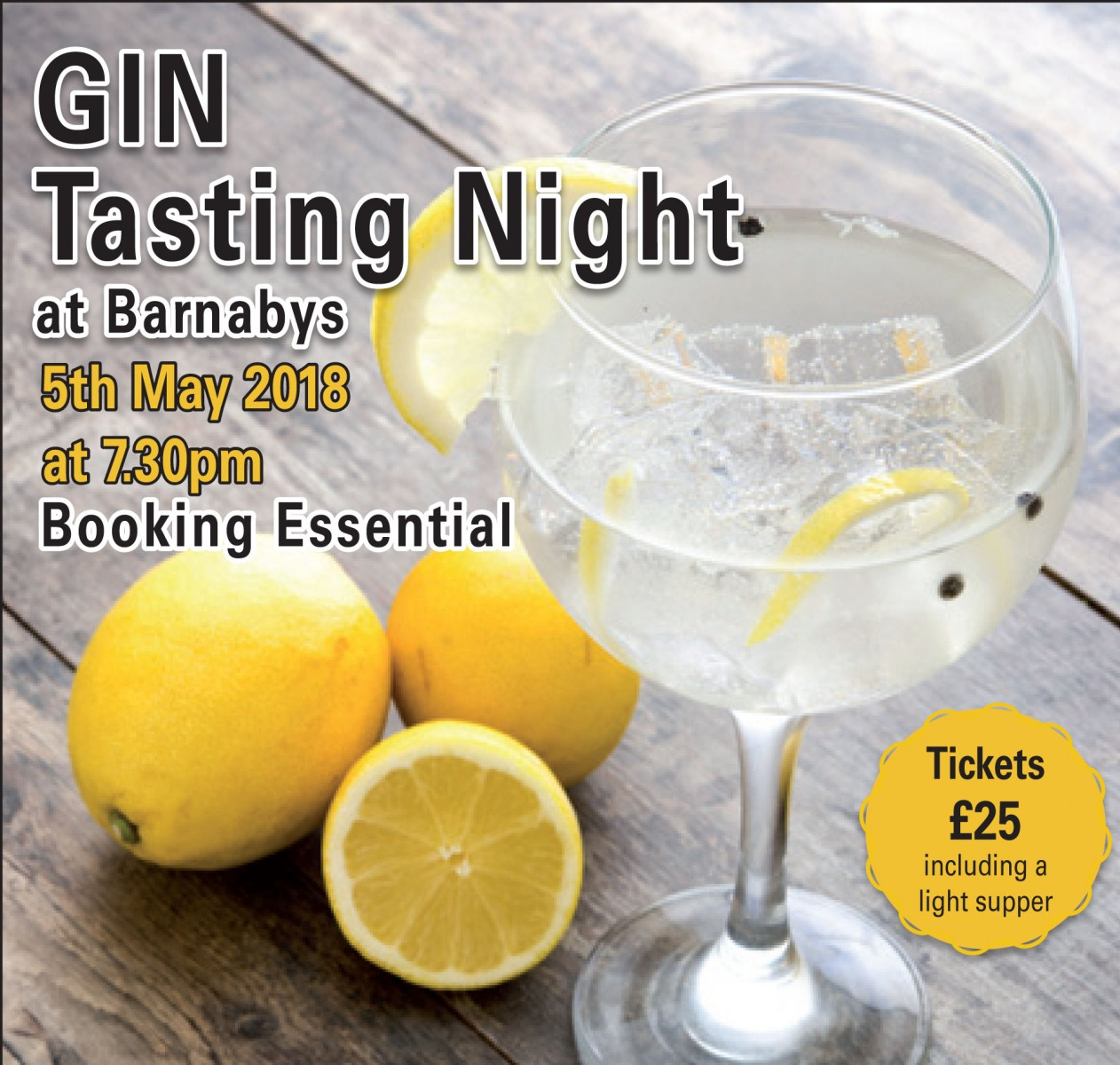 Gin Tasting Night at Barnabys!