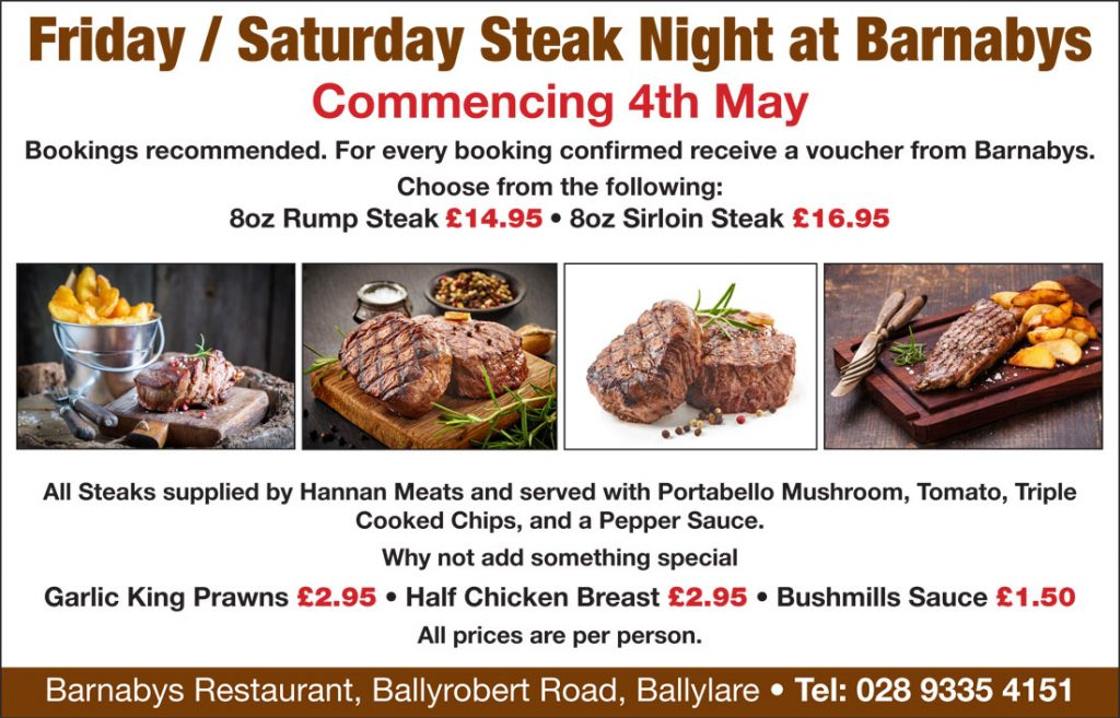 Friday / Saturday Night Steak Nights at Barnabys Restaurant!