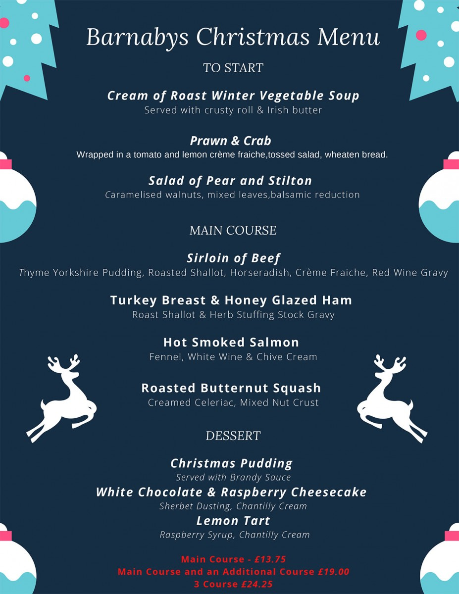 Barnabys Restaurant Christmas Menu 2020