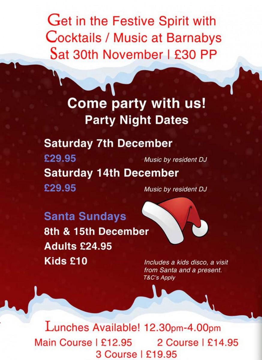 Christmas Restaurant Poster.Christmas Party Nights 2019 Barnabys Restaurant