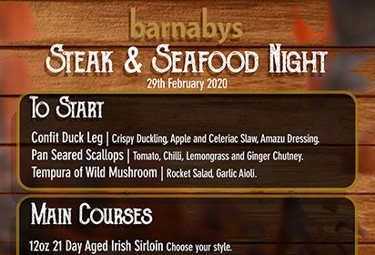 Steak and Seafood Night Sat 29th February